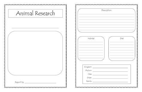 homeschool days  printable animal research report