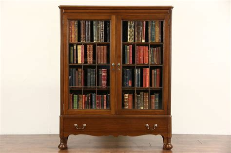 walnut  antique library bookcase leaded glass doors