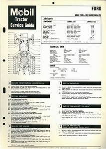 Ford 2000  U0026 3000 Tractor Mobil Service Guide Wallchart