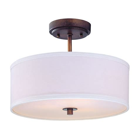 drum shade ceiling light semi flush light with white drum shade 14 inches wide ebay