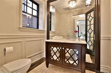 vanity  mirrored doors transitional bathroom