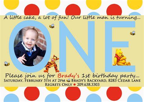 Tigger Birthday Cake Template by Free Printable Winnie The Pooh Photo Birthday Invitations