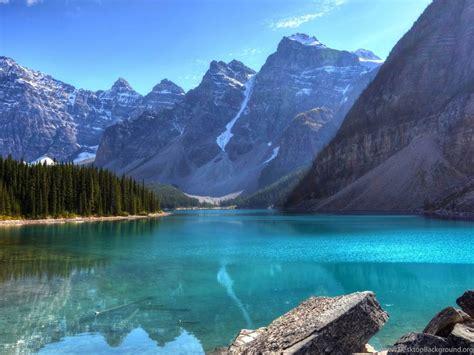 beautiful blue mountain lake    ultra hd