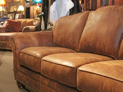 rustic brown leather sofa rustic leather sofa western brown leather couch