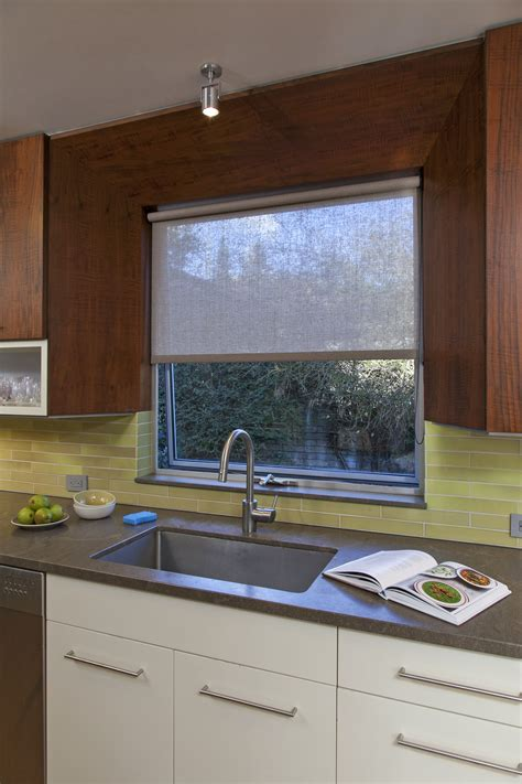subtle kitchen window roller shade  respects