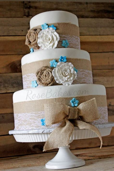 burlap lace rustic wedding cake bakes