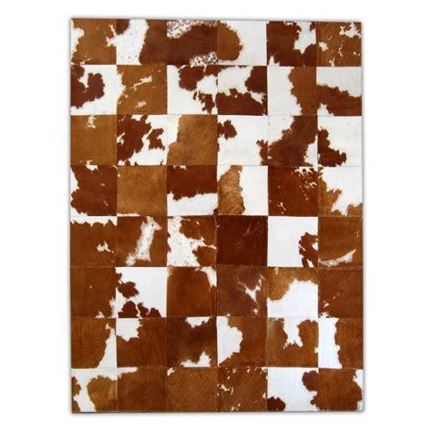 Patchwork Cowhide Rug by K 154 Redish Brown White Patchwork Cowhide Rug Fur Home