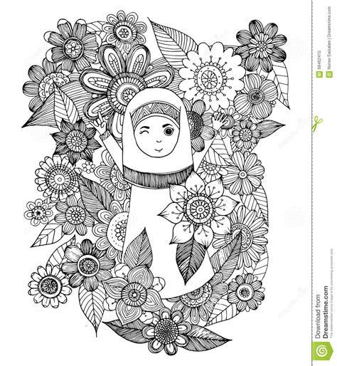 doodle character  muslim girl cartoon vector