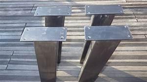 Pied De Table Metal Industriel : 4 pieds de table acier inclin s de style industriel pour ~ Dailycaller-alerts.com Idées de Décoration