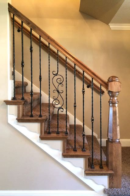 Iron Banisters by Wood Railing With Wrought Iron Balusters Traditional