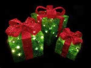 set of 3 sparkling green sisal gift boxes lighted christmas yard art decorations newegg com