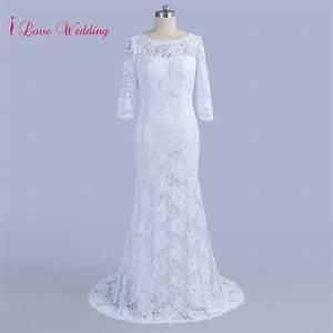 Vintage Half Sleeve Mermaid Lace Wedding Dresses Scoop