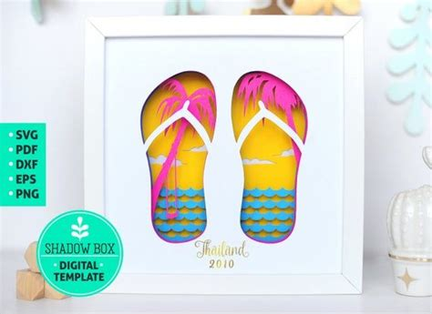 css /* this establishes the design of the boxes' paragraphs. Summer Flip Flops Shadow Box SVG 3d papercut SVG layered ...