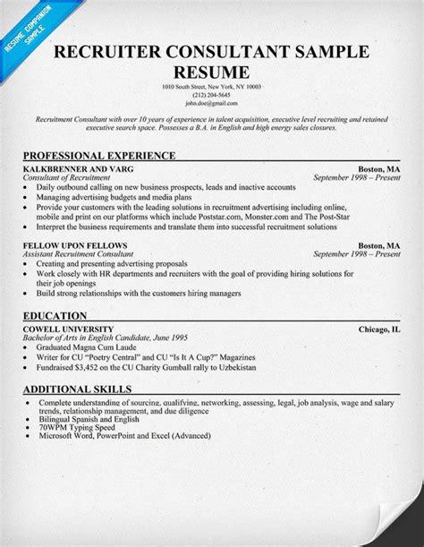 recruiter consultant resume resumecompanion com