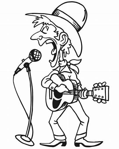 Coloring Country Singer Cantor Musician Colorir Kleurplaat