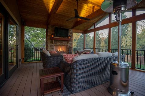 screened porch with fireplace st louis screened porches your backyard is a blank