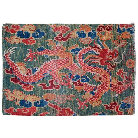 Tibetan Sitting Rug With Green Background Dragon Design At