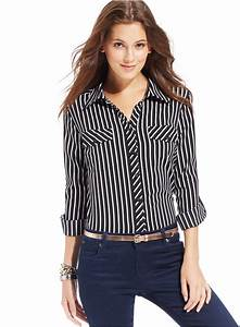 Black and White Vertical Striped Dress Shirt: Ny ...