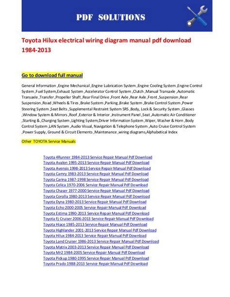 toyota hilux electrical wiring diagram manual pdf