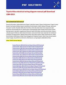 Toyota Hilux Electrical Wiring Diagram Manual Pdf Download