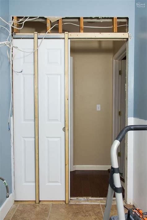 guest bathroom renovation pocket door installation