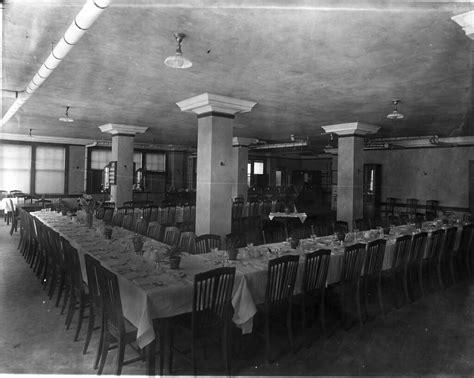 Home economics cafeteria dining room set for banquet in 19 ...