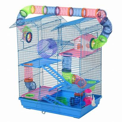 Hamster Cage Pawhut Tunnels Metal Tier Cages