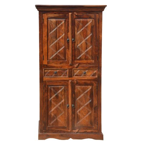 Wardrobe Cabinet With Drawers by Rustic Wood 2 Storage Drawers Cupboard Wardrobe Armoire