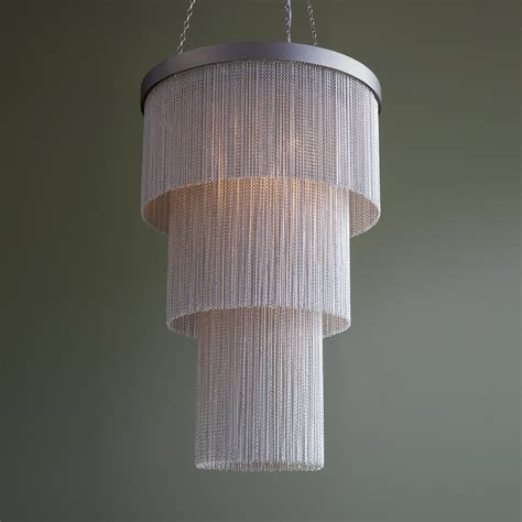 Silver Chain Chandelier by Silver Chain Chandelier Tigermoth Lighting