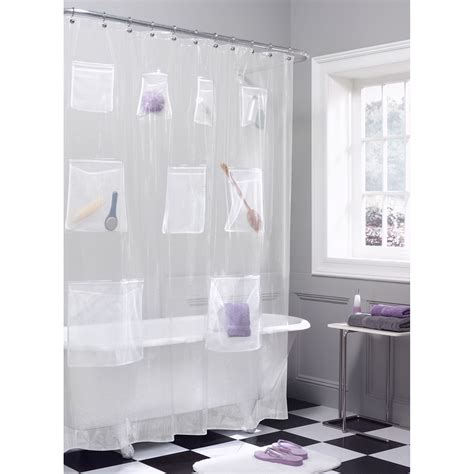 shower curtain with pockets colormate shower curtain mesh pockets frosted vinyl