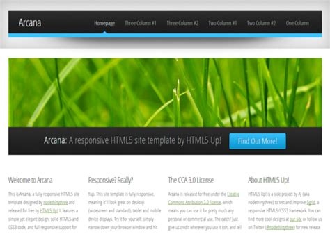 Html5 Template Arcana Responsive Html5 Templates Themes