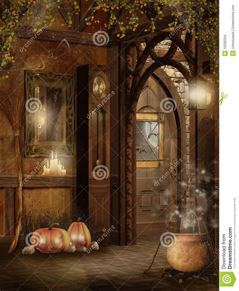 cottage interior  halloween decorations stock images