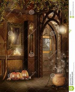 Cottage Interior With Halloween Decorations Stock Images