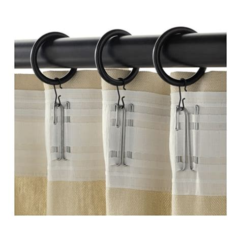 clip on curtain rings syrlig curtain ring with clip and hook black ikea