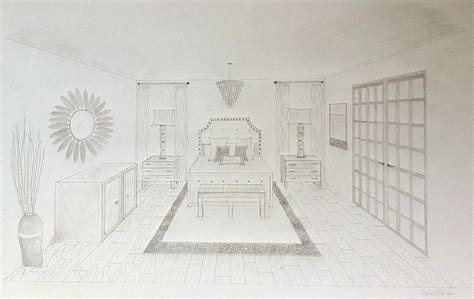 Drawing A Bedroom In One Point Perspective by One Point Perspective Interior Search