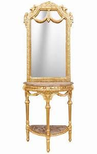 Miroir Baroque Doré : console demi lune avec miroir style baroque bois dor et marbre beige ~ Teatrodelosmanantiales.com Idées de Décoration