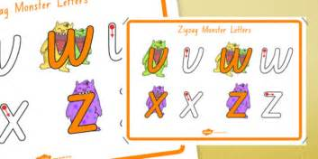 zigzag monster letters formation display poster foundation