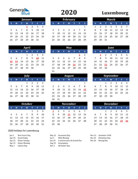 calendar luxembourg  holidays