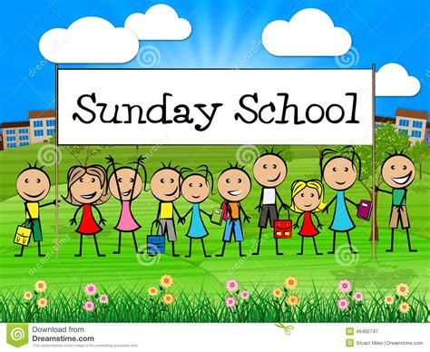 Sunday School Banner Represents Prayer Praying And