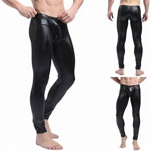 Wet Look Mens Compression Tights Athletic Under Layer GYM Long Pants Black/Red | eBay