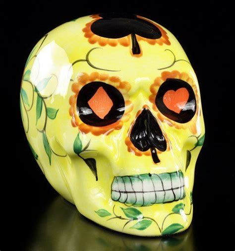 gelber totenkopf day of the dead www figuren shop de