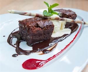 Fancy Dessert, Chocolate Brownie And Ice Cream Stock Photo ...