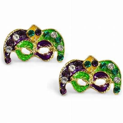 Earrings Mask Jester Jeweled Gras Mardi Masks