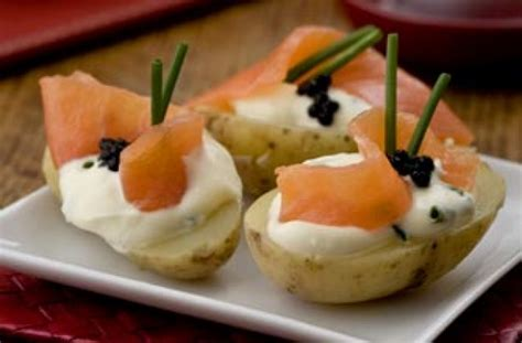 50 and easy canapes salmon and caviar topped potatoes goodtoknow