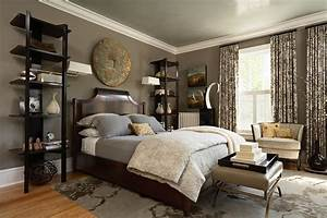Cool corner curio in Bedroom Transitional with Taupe Walls