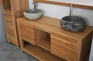 Meuble En Teck Pas Cher : mercier carrelages meuble 02 salle de bain simple vasque en teck 120 ou 140 cm ~ Farleysfitness.com Idées de Décoration