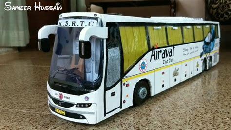 ksrtc airavat volvo br bus model volvo br  bus cardboard model  steerable rear