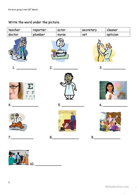 pre entry test worksheet  esl printable worksheets