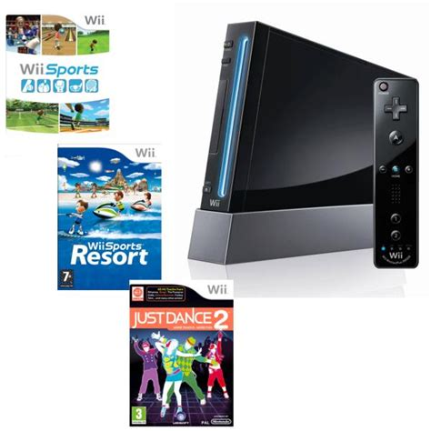 wii console sports resort bundle nintendo wii console black bundle including wii sports