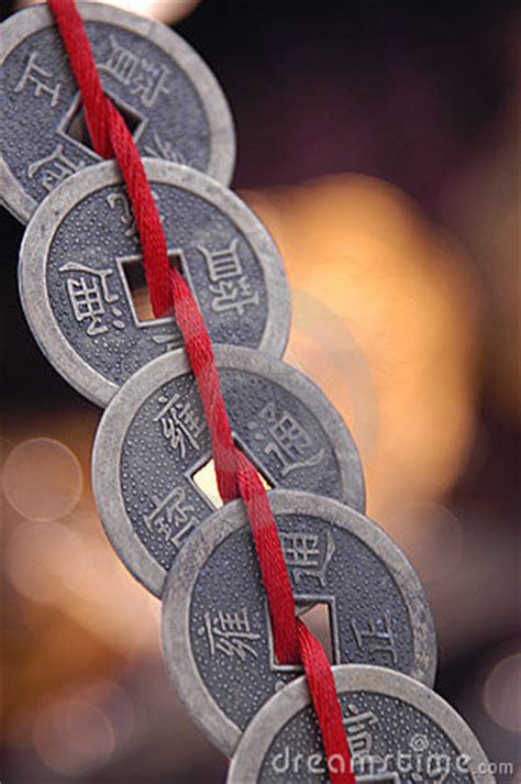 chinese coins  string stock photography image